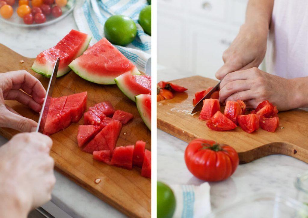 Preparing vegetables for watermelon gazpacho