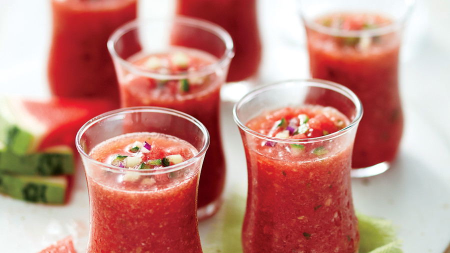 Watermelon gazpacho in shot glasses